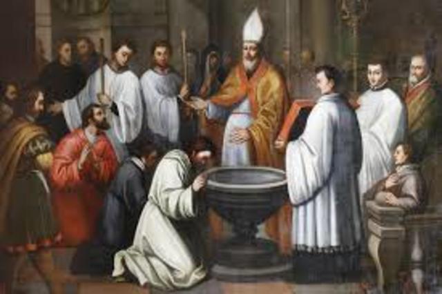 Agustin recibe el bautismo de