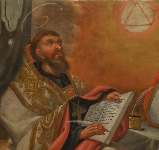 """San Agustin publica las """"Confesiones"""" y  """"De Trinitate"""" (15 libros, concluida en el 416)."""