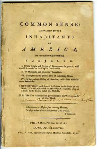 """Paine's """"Common Sense"""" published"""