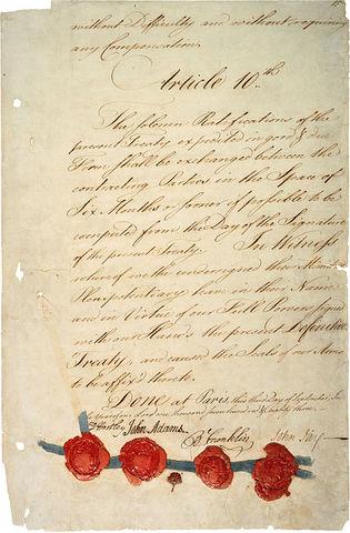 Treaty of Paris of 1783 Signed