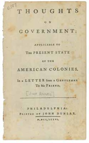 Thoughts on government by John Adams