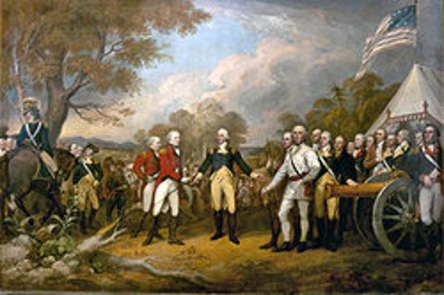 Burgoyne surrenders to Gates at Saratoga