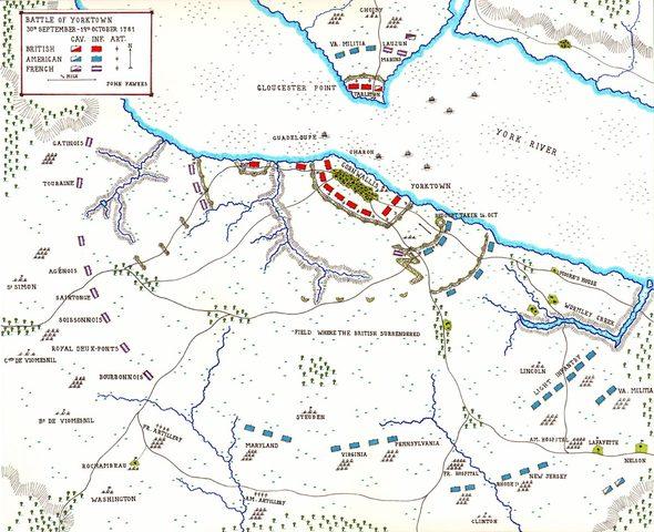 Cornwallis surrenders at the Battle of Yorktown
