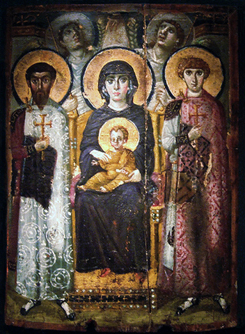 The Theotokos and Child, with saints and angels