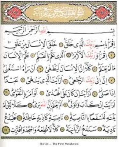 Muhammad recieves First Revalation