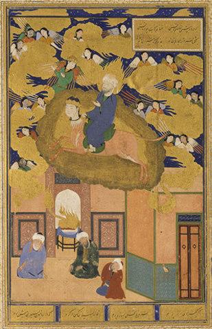 The Mi'raj, or, The Night Flight of Muhammad on his Steed Buraq: Folio from a Bustan of Sa'di