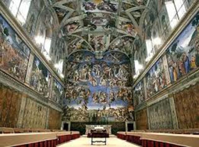 Michaelango begins painting Sistine Chapel