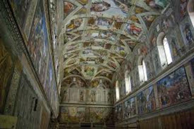Michelangelo begins paintiing the Sistine Chapel