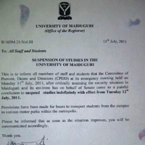 University of Maiduguri shut down over Boko Haram threats
