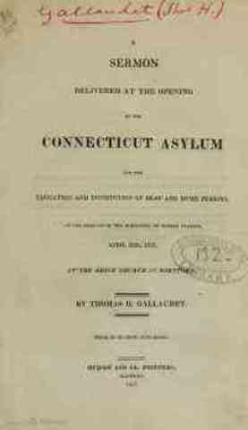 Connecticut Asylum for the Education of Deaf and Dumb Persons Opened