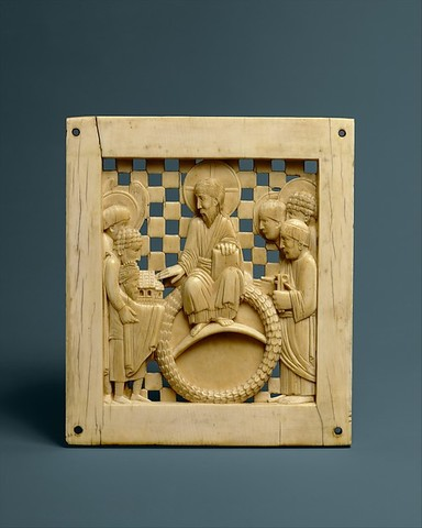 Plaque with Christ Receiving Magdeburg Cathedral from Emperor Otto I