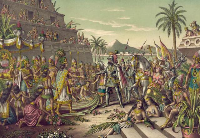 Cortés lands in Mexico