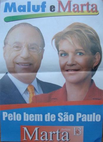 Paulo Maluf (PP) apóia Marta Suplicy (PT)