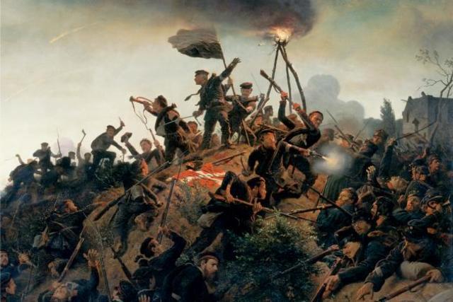 Nederlag til tyskerne i slaget ved Dybbøl om Sleshwig-Holsten
