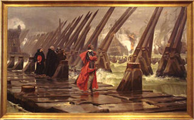 English fleet fails to relieve Hugenots at La Rochelle
