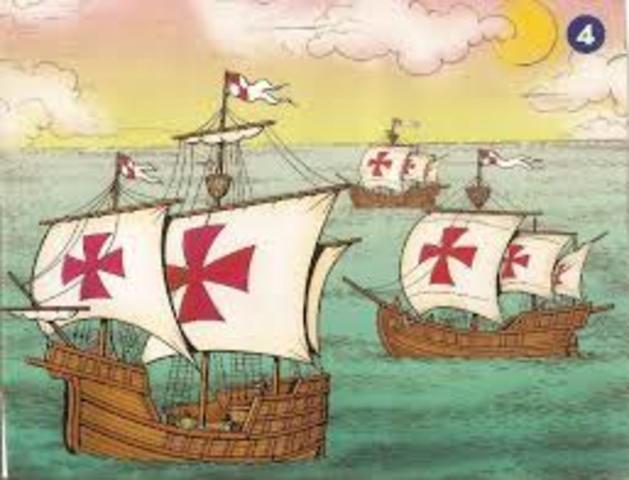Cristobal Colón inicia su viaje.