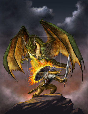 Beowulf fights the dragon