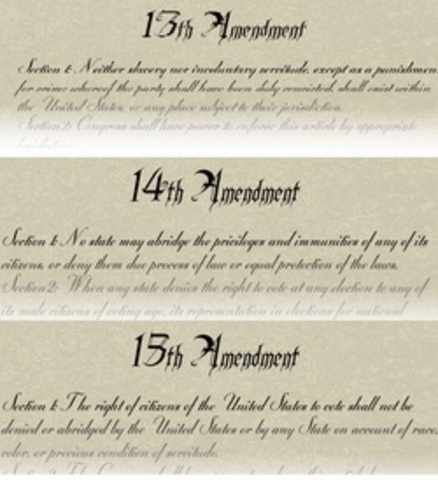 The passage of the 13th, 14th and 15th Amendments