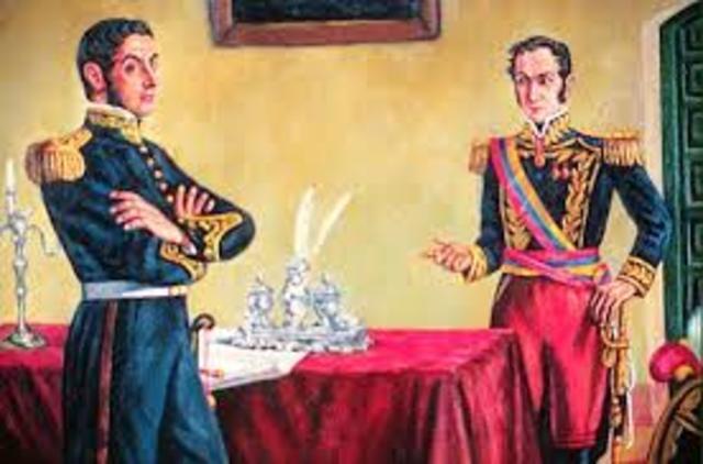 Fracasan las conversaciones entre Bolivar y San Martin