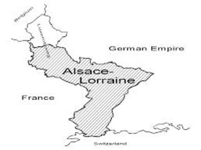 France loses Alsace and Lorraine to the Germans