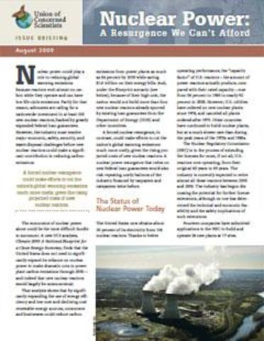 Nuclear Power: A Resurgence We Can't Afford (2009)