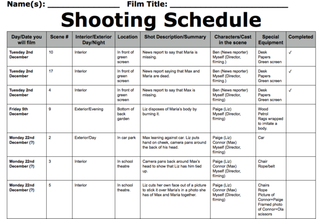 Improved Shooting Schedule