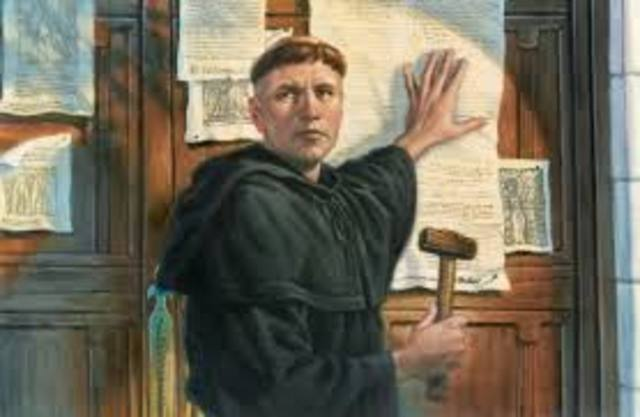 """Martin Luther publishes """" THE 95 THESES """""""