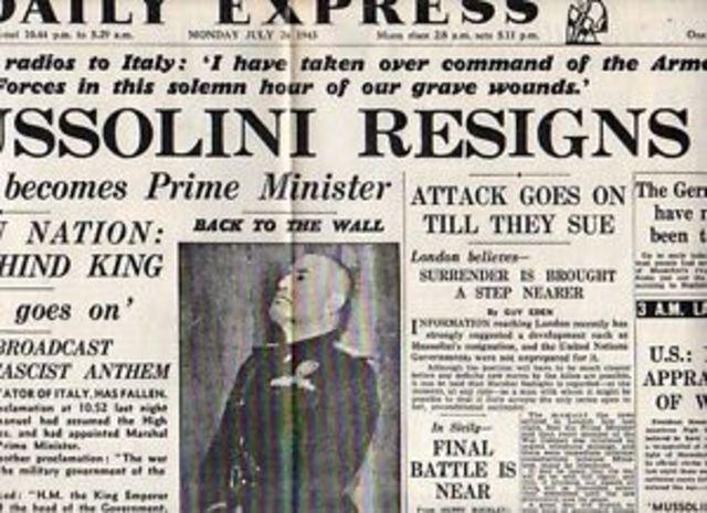 Mussolini resigns