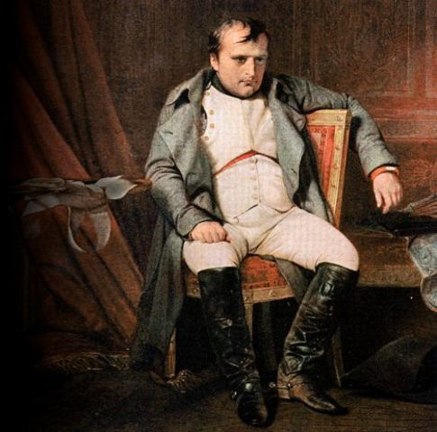 Napoleon steps down from throne, Louis XVIII claims throne