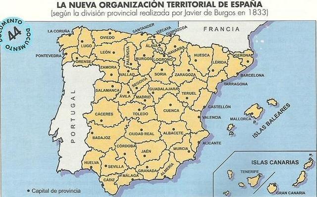 Firma del decreto por el que España queda dividida en 49 provincias