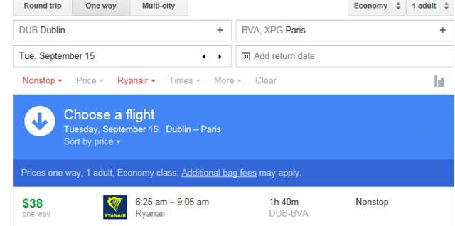 Plane ride to paris