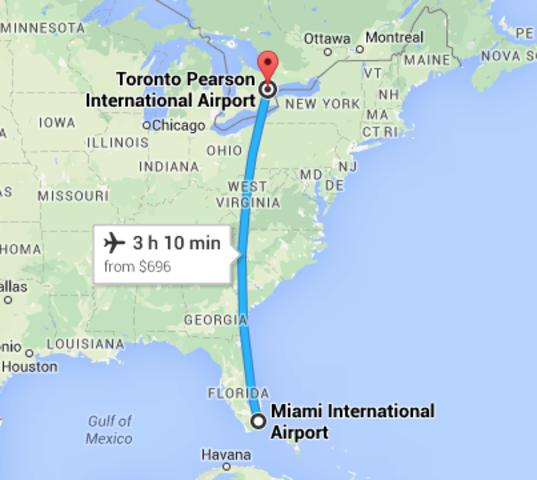 (1) Flight from Miami to Toronto