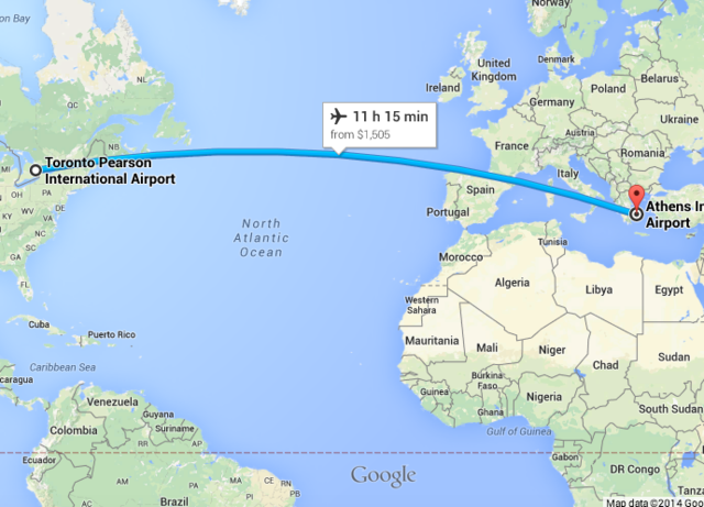 (8) Flight from Toronto to Athens