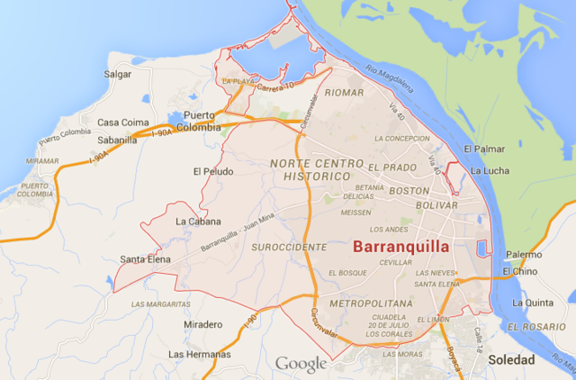 Large Scale Map of Barranquilla