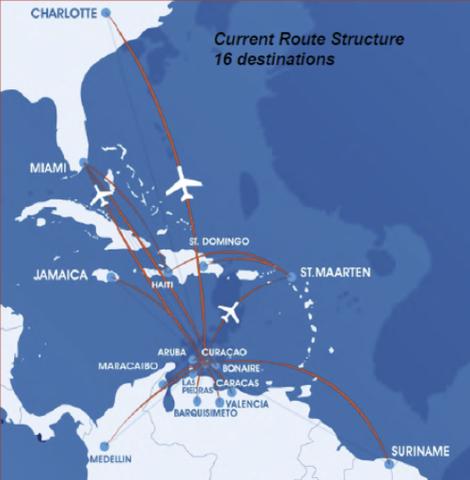 Flying over the Caribbean Sea to Venezuela