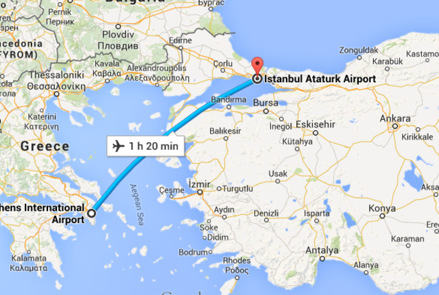 (12) Flight from Athens to Istanbul (Connecting Flight)