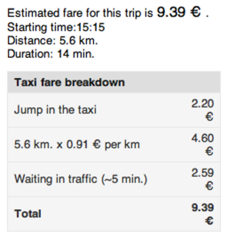 Taxi webiste and prices