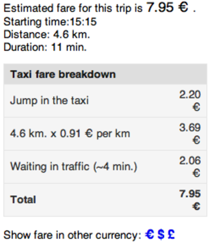 Taxi Price for our travel