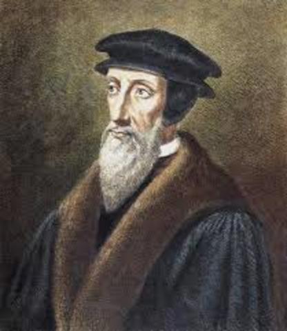 Calvin establishes reformed faith in Geneva