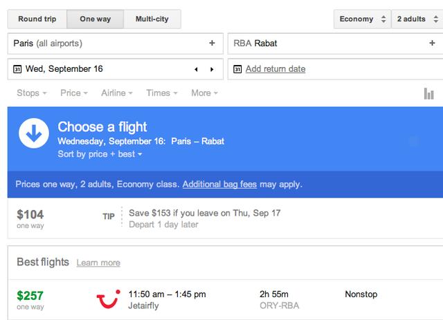 Plane flight prices to Morocco