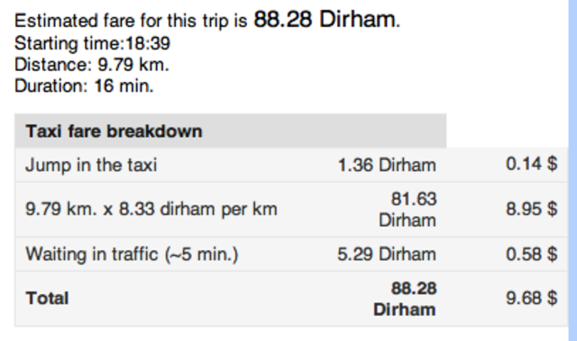 Price for taxi in  Morocco