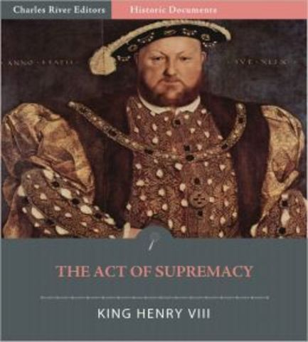 Act of Supremacy in England Creates Anglican Church