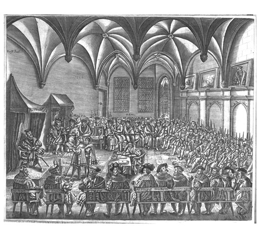Peace of Augsburg ends religious war in Germany, Charles V abdicates