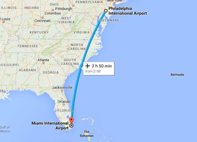 (36) Flight from Philidelphia to Miami