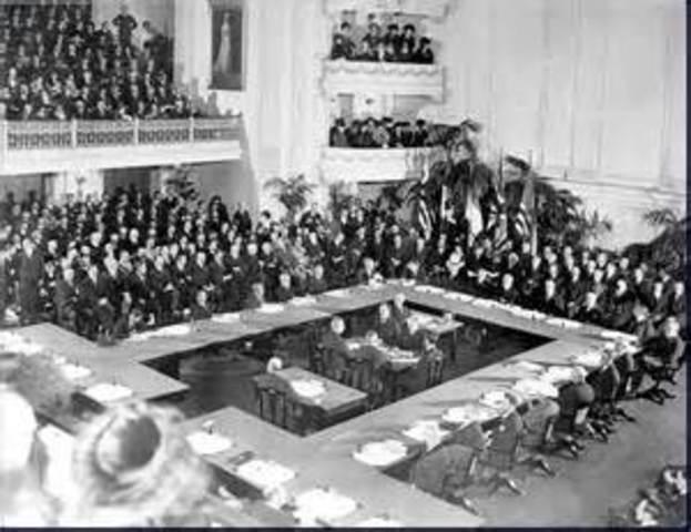 Treaty of Versailles ends World War I
