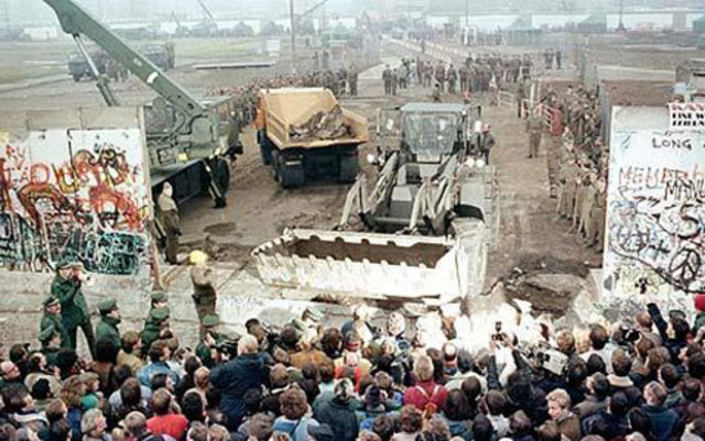 Berlin Wall falls and collapse of communism