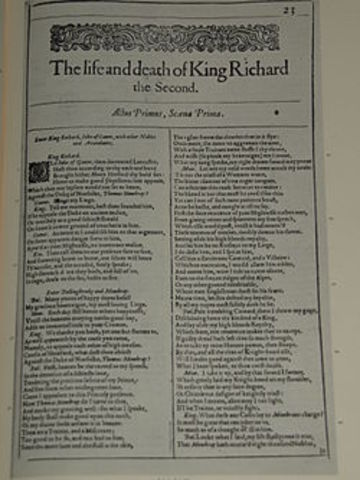 Shakespeare's Richard II is perfromed for the first time