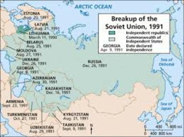 Break-up of Soviet Union; Balkan conflicts begin in former Yugoslavia