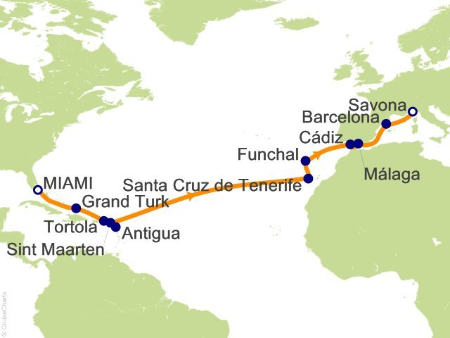 MAP Spain to Miami