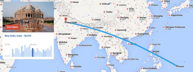 MAP of Koro to New Delhi